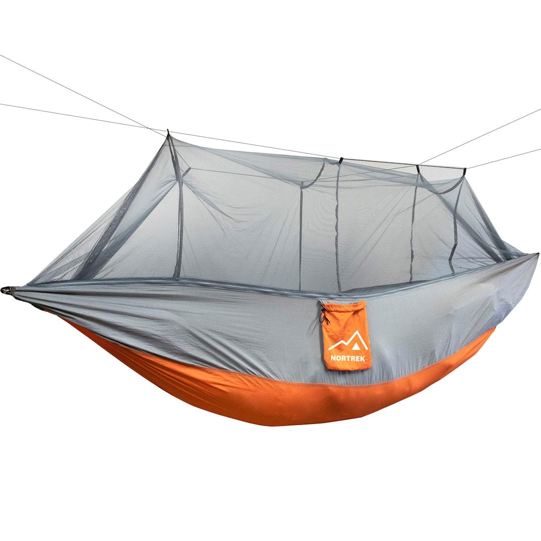 Nortrek hängmatta med myggnät, orange-grå