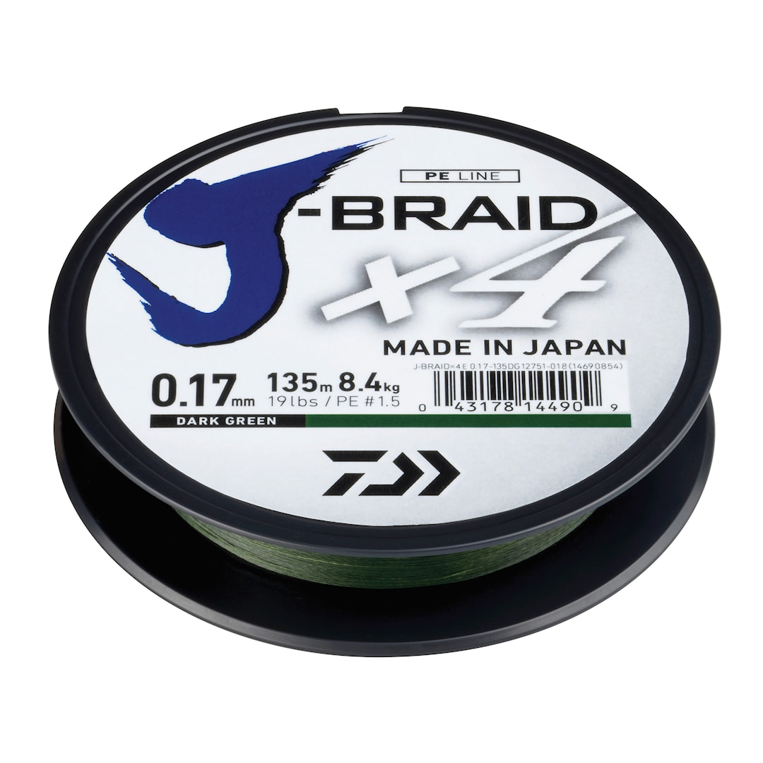 Daiwa J-Braid X4 mörkgrön 1350 m flätlina